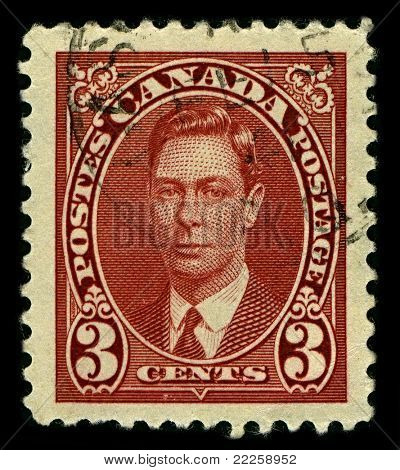 CANADA-CIRCA 1937:A stamp printed in CANADA shows image of George VI  was King of the United Kingdom and the Dominions of the British Commonwealth from 11 December 1936 until his death, circa 1937.