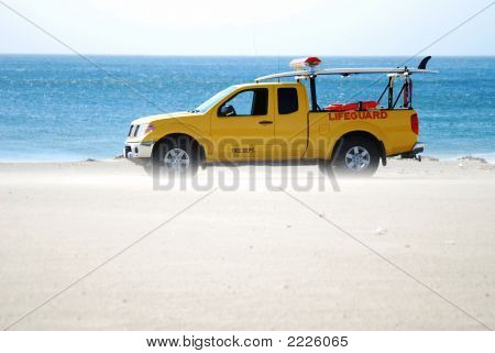 Lifeguard Truck Sandblasted By Wind