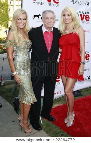 LOS ANGELES - JUL 19: Bridget Marquardt, Hugh Hefner, Holly Madison at the Much Love Animal Rescue fundraiser 'Bow Wow Wow' at the Playboy Mansion on July 19, 2008 in Los Angeles, California
