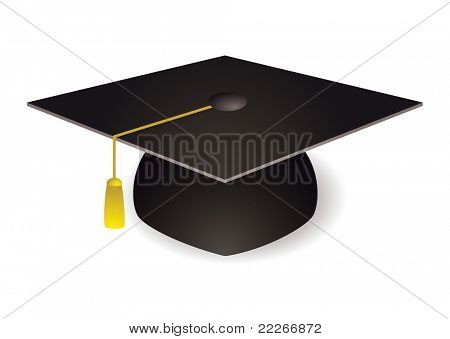 Black graduation mortar board hat with gold trim