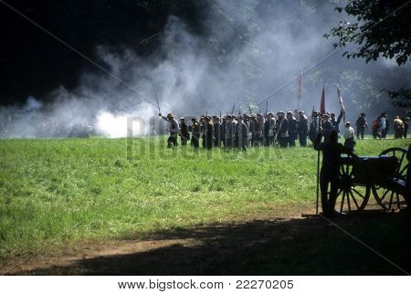 Union Infantry Line Fires On Advancing  Confederate Soldiers