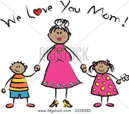 WE LOVE YOU MOM tan skin tone family greeting (vector)