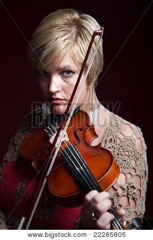 Woman Plays A Violin