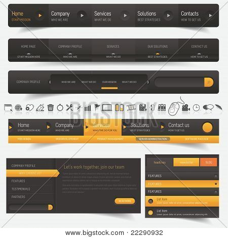 Web design navigation pack with icons set