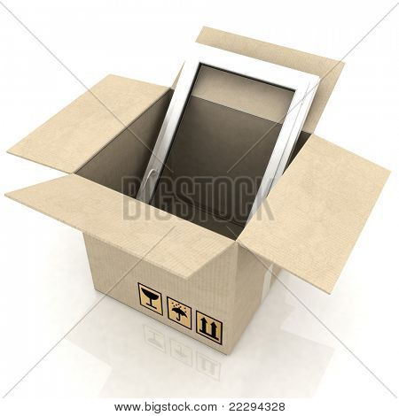 cardboard box with plastic windows on a white background