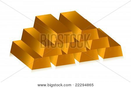 3d golden bars over white background
