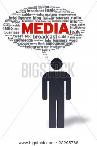 Paper Man With Media Bubble