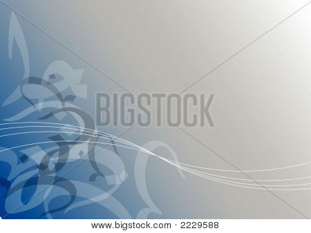 Abstract Calligraphic Curves On Blue (Vector)