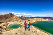 New Zealand popular tourist hiking hike in Tongariro Alpine Crossing National Park. Tramping tramper poster