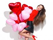 Valentine Beauty girl with colorful air balloons laughing, isolated on background. Beautiful Happy Y poster