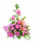 stock photo of white roses  - Colorful purple flower arrangement centerpiece with roses - JPG