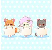 Sweet Kitty Little Cute Kawaii Anime Cartoon Bunny Rabbit Girl In Dress With Long Fluffy Ears Differ poster