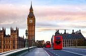 London morning traffic scene with red Double Decker buses move along the Westminster Bridge with Pal poster