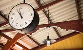 Close Up Of Vintage Death Clock Hang On The Vintage Zinc Roof At Vintage Train Station In Province O poster