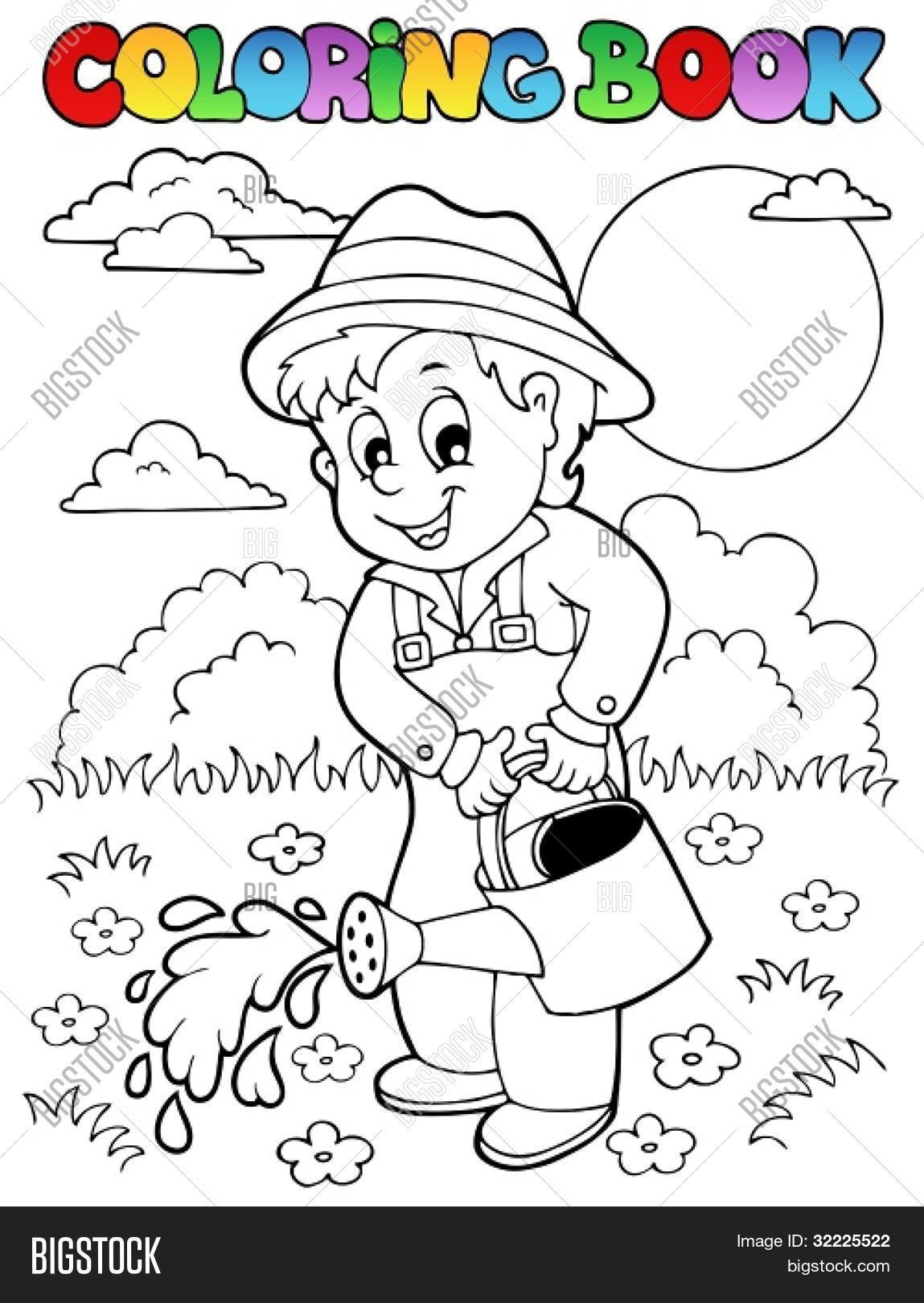 banco de jardim vetor:de livro de colorir e jardineiro – ilustração vetorial. Bancos de