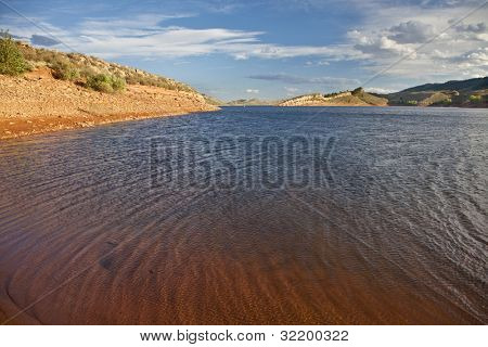 windy mountain lake - Horsetooth Reservoir near Fort Collins, Colorado, summer time before sunset