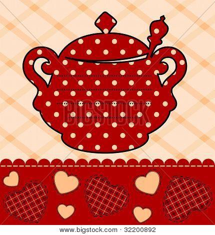 Vector illustration vintage ceramic kettle on the decorative background