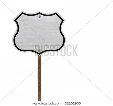 Tall blank isolated interstate sign on a wooden post.