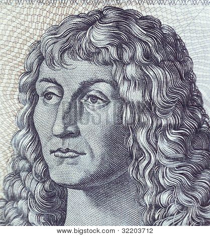 Detail of bank notes in 10 DM 1963. with a portrait of a young man based on the eponymous painting b