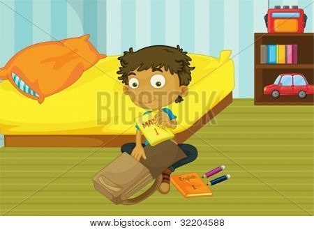 Illustration of a boy packing his schoolbag in his bedroom