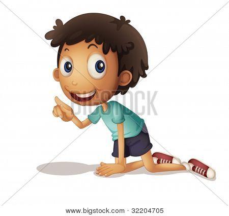 Ilustración de un joven arrodillado en el piso