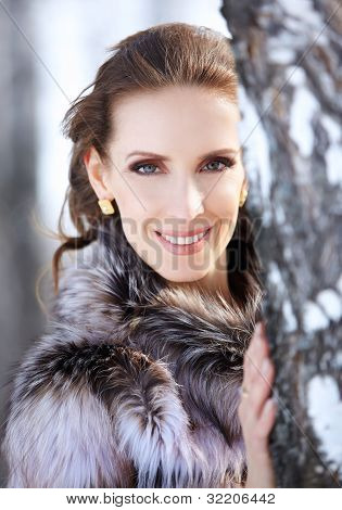 Beautiful Brunette Woman Outdoors