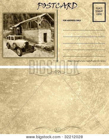 Vintage Empty Blank Motor Car Postcard Template Front Back