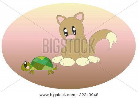 cat with turtle