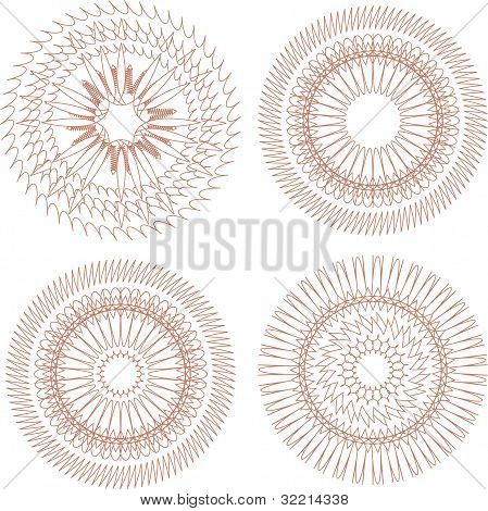 Set Of Four Guilloche Rosette. Decoration Ornament