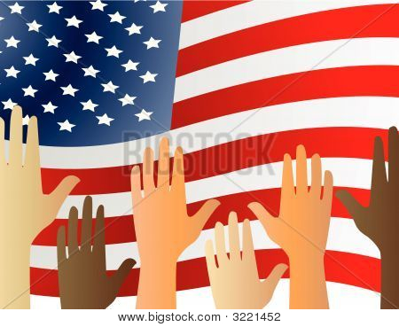 Hands Up For The Usa Illustration