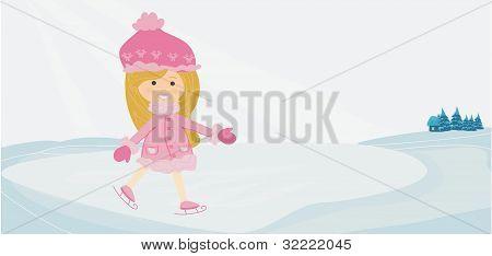 Girl on skates on winter landscapes