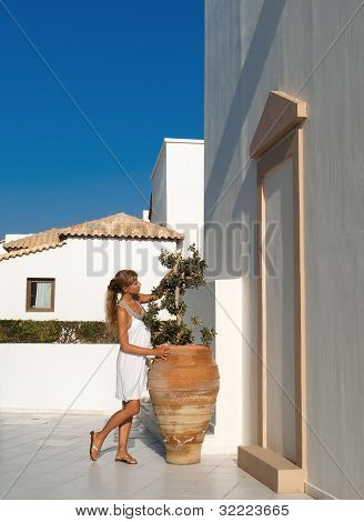 Woman In White Dress Greek Style Admire Olive Amphora