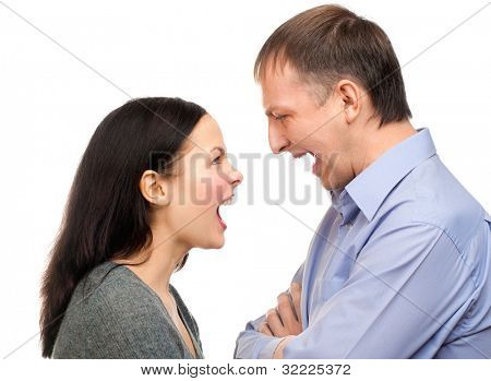 Couple in quarrel. Wife yelling at her husband, isolated on white background