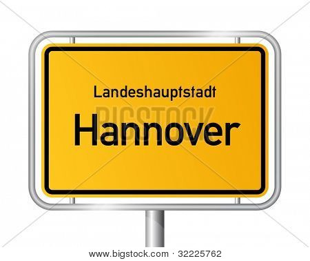 City limit sign HANNOVER against white background - capital of the federal state Lower Saxony - Niedersachsen, Germany