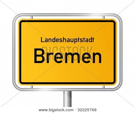 City limit sign BREMEN against white background