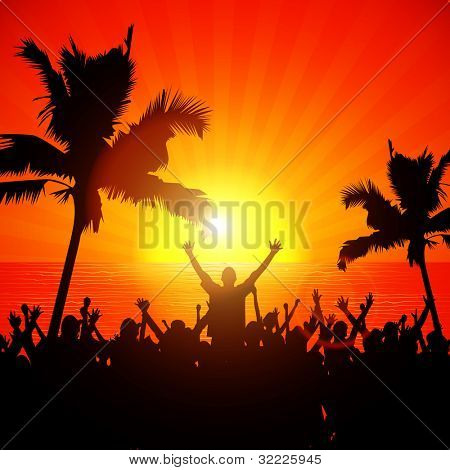 Party people on the beach in summer - Fully Editable EPS10 vector background