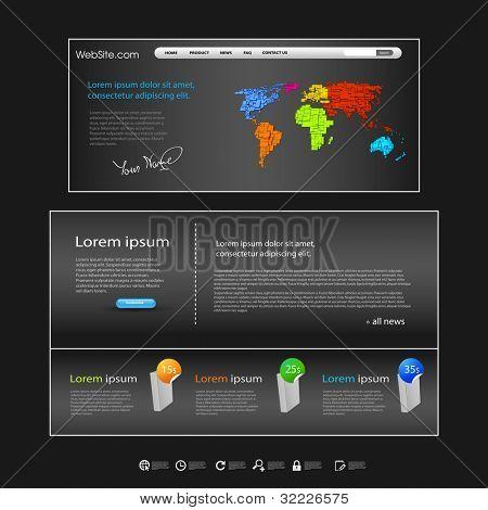 web dark website with world map