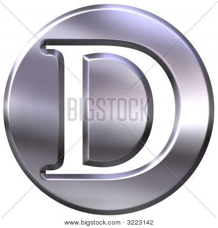 3D Silver Letter D