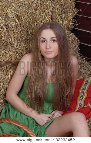 beautiful girl is in the field
