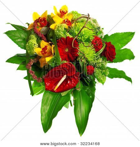 bouquet of gerberas, lily and anthurium