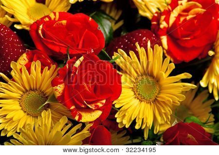 greeting card from gerberas and roses