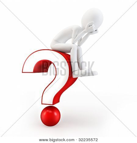 3D Man Sitting On A Question Mark