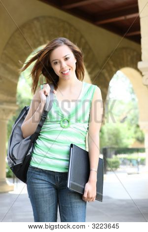 Cute Girl Walking On College Campus