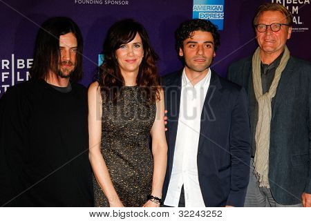 NEW YORK, NY - APRIL 21: Actors Brian Petsos, Kristin Wiig, Oscar Isaac and David Rasche attend the premiere of