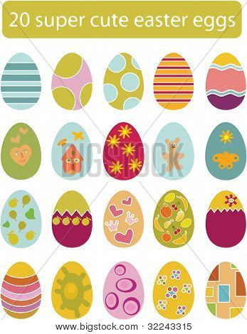 20 super vector easter egg set
