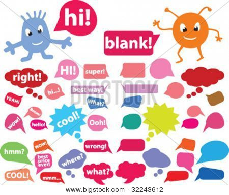 extra big chat & thought bubbles set vector