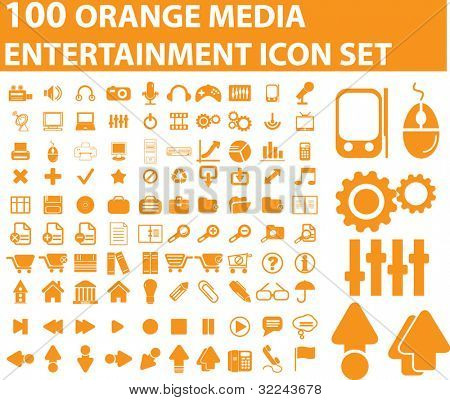 100 orange entertainment icon vector set