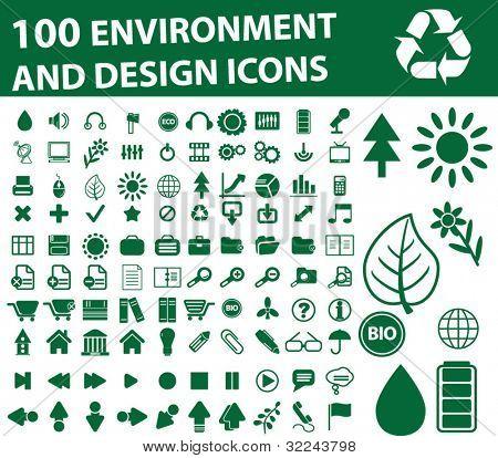 100 green environment icons