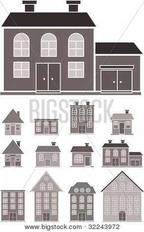 black-white houses silhouettes.vector