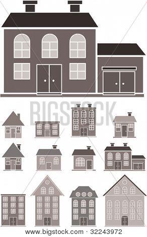 black-white houses silhouettes.vector